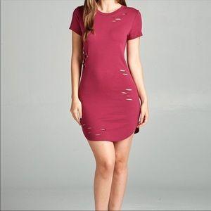 Dresses & Skirts - Berry Distressed Jersey Dress Tunic